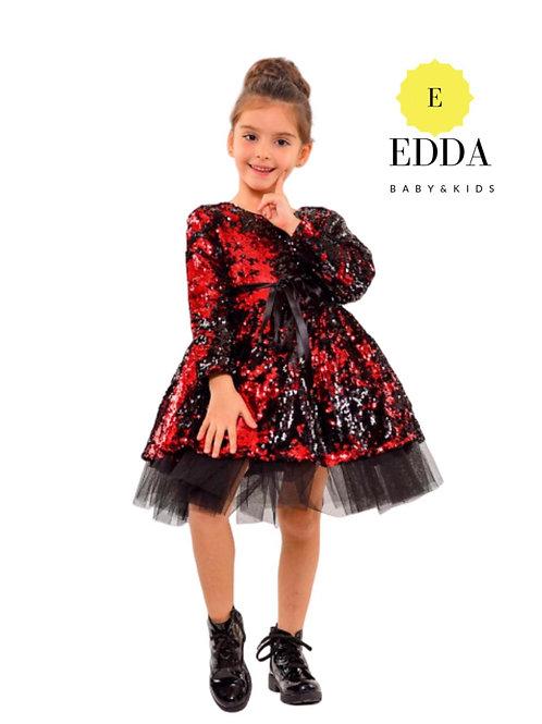 Pul Payet Elbise -Kırmızı