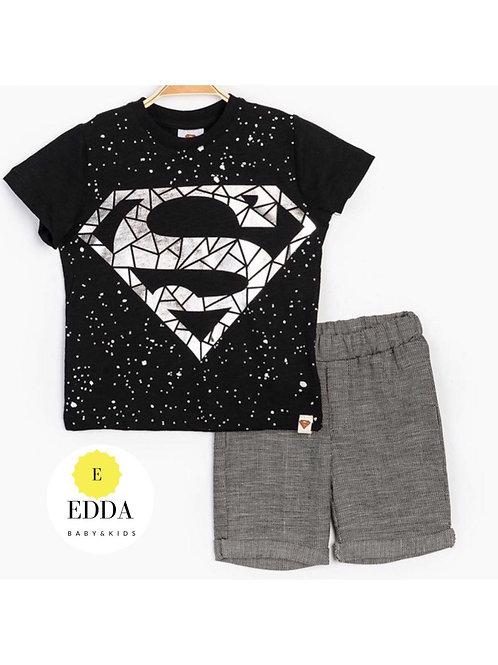 SuperMan Keten Şortlu Takım
