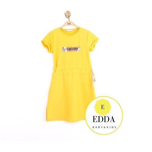 Sarı Elbise Belden Büzgülü