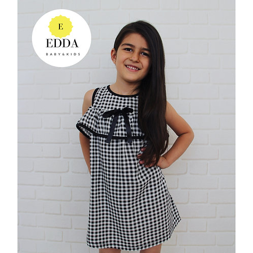 Siyah Ekoseli Elbise (2-10 yaş )