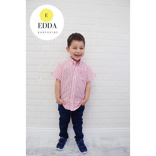 Çizgili Kısa Kol Gömlek  (4-14 yaş arası)