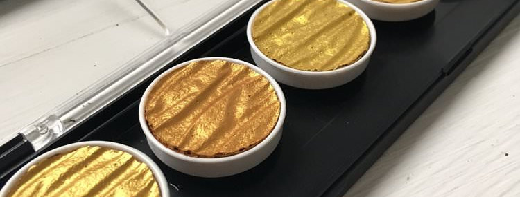 Finetec / Coliro Gold Metallic Colour Palette - 6 pans / 30mm