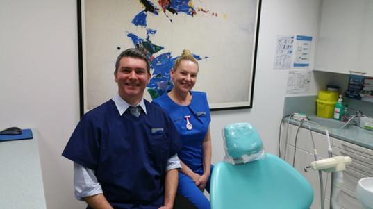 Alex Lass, Dentist and Selena, Dental Nurse in their surgery