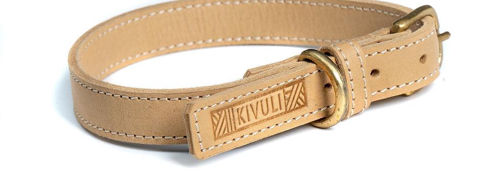 Beige leather dog collar