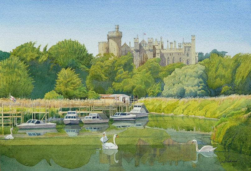 Arundel Castle from the River at High Tide
