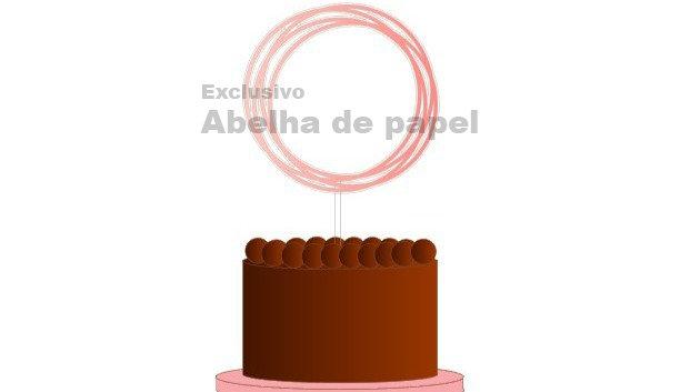 Topo de bolo circular para personalizar - Molde Digital