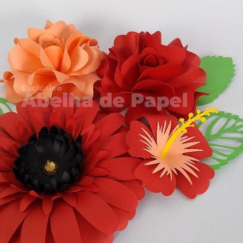 Combo Tropical de Flores 49,45,20+folhagem
