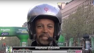 Course à pied | Stéphane Diagana sur la moto du Marathon de Paris 2019