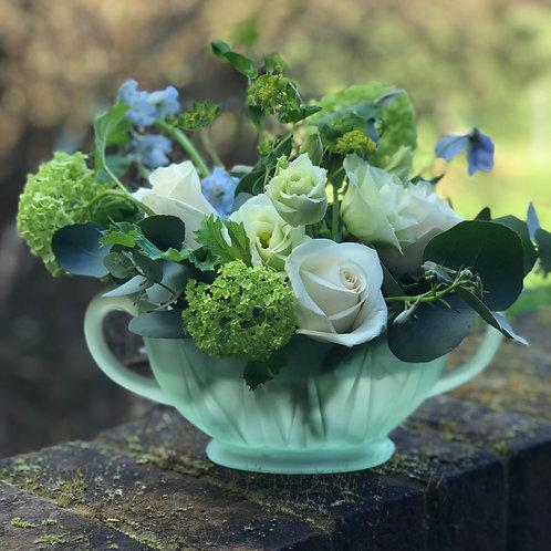 Vintage Frosted Green Vase