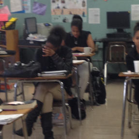 Students intellectually prepping for Socratic Seminar