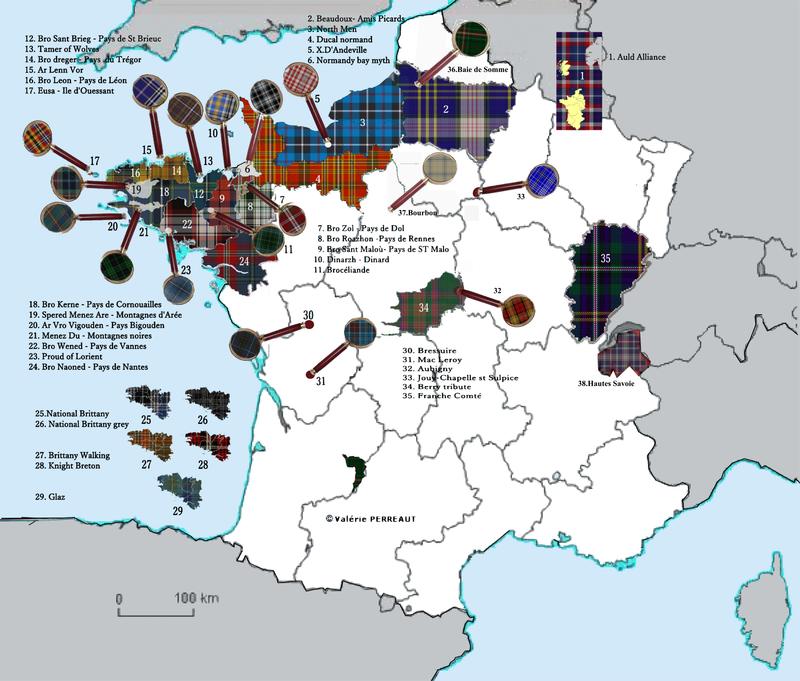 Carte des tartans en France
