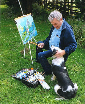 Dog and Mike Painting at Margery Shotton