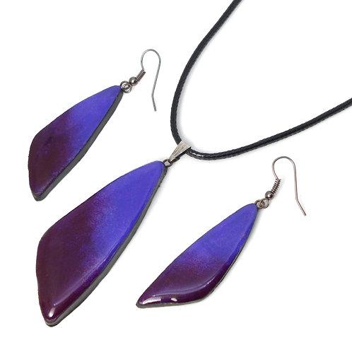 Dark dusk pendant earring set