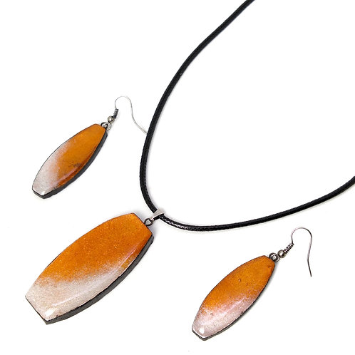 Bronzed Bark pendant earring set