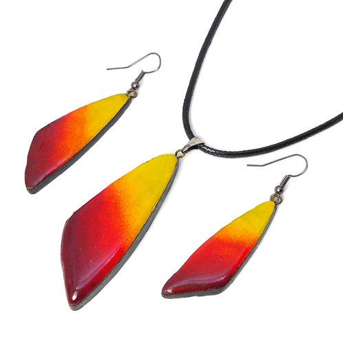 Morning Glory pendant earring set