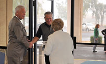 guests being greeted on Sunday morning at First Baptist Church Sun lakes
