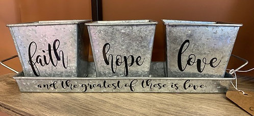 Faith, Hope & Love Herb Containers