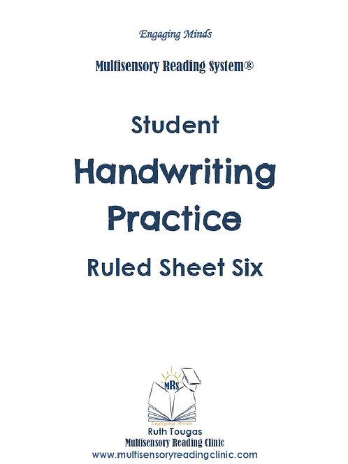 Multisensory Reading System Ruled Sheet 6 Handwriting Practice