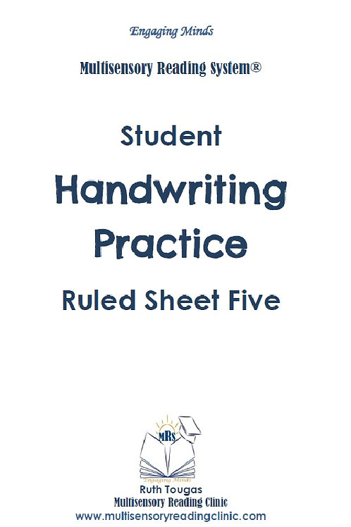 Multisensory Reading System Ruled Sheet Five Handwriting Practice