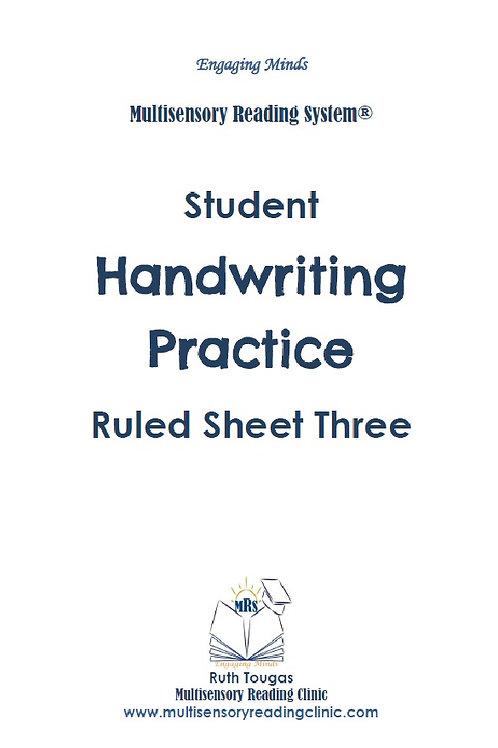 Multisensory Reading System Ruled Sheet Three Handwriting Practice