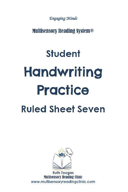 Multisensory Reading System Ruled Sheet 7 Handwriting Practice