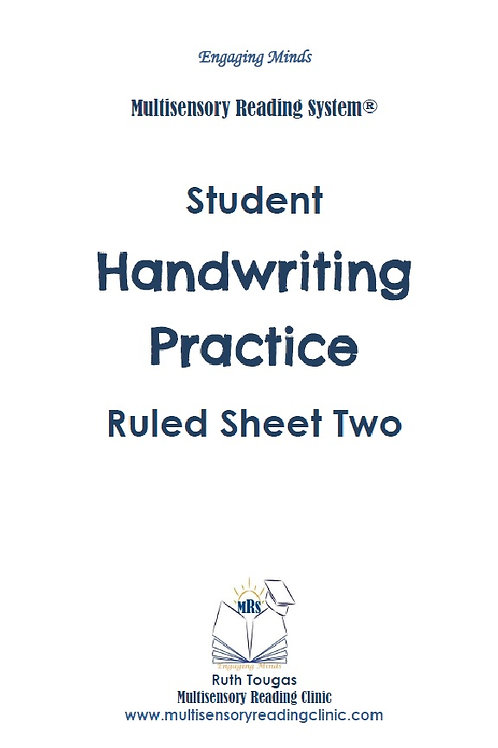 Multisensory Reading System Ruled Sheet Two Handwriting Practice
