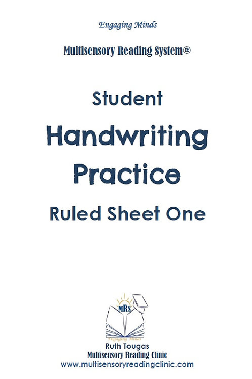 Multisensory Reading System Ruled Sheet One Handwriting Practice