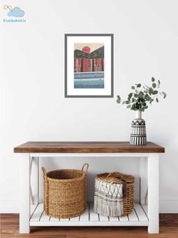 Framed mini memory quilt, fabric painting, wall hanging, textile art, heirloom, keepsake