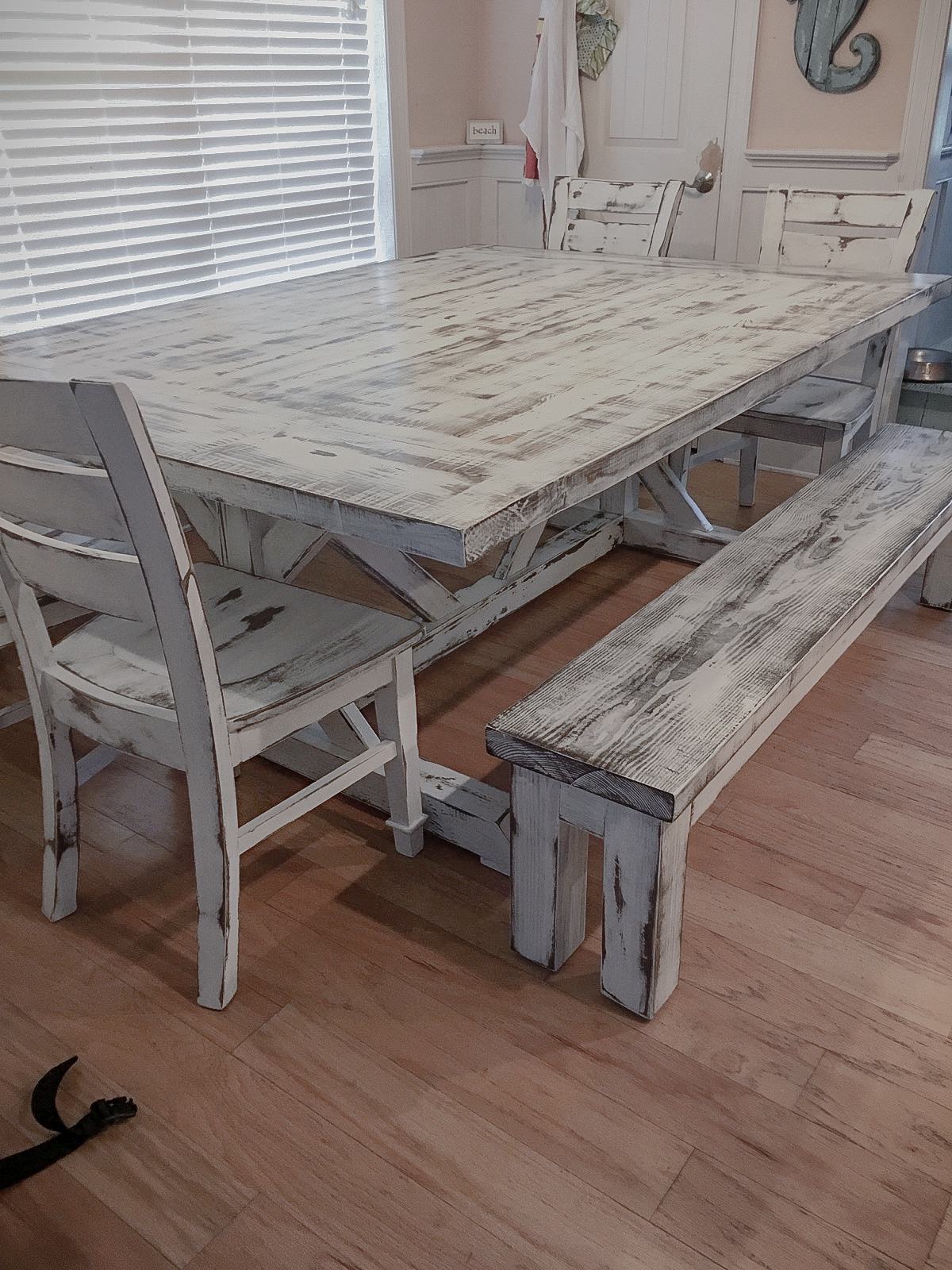 Poplar with Distressed White Paint and Satin Finish
