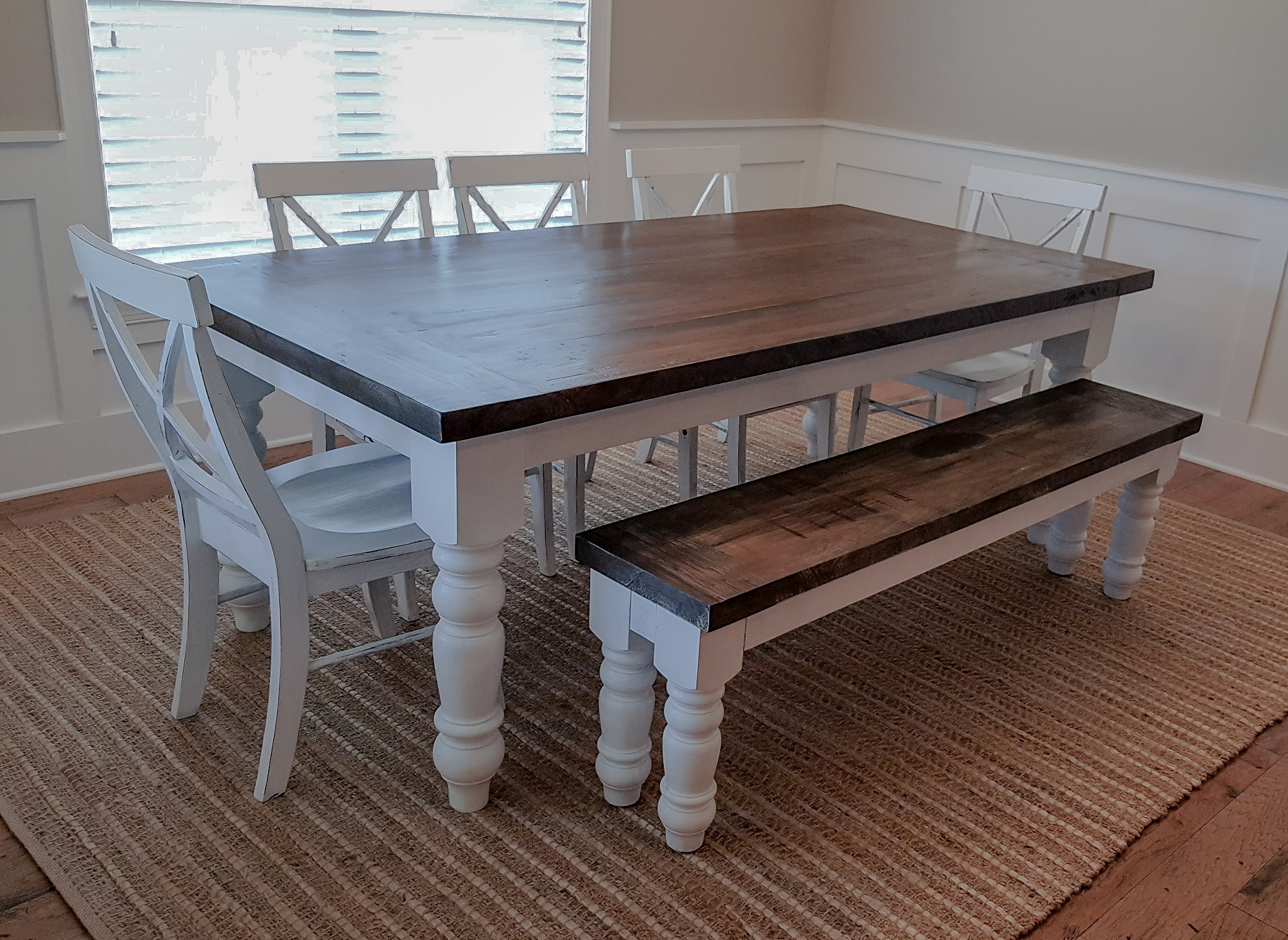 Hickory with Walnut Stain and Satin Finish - White Painted Base