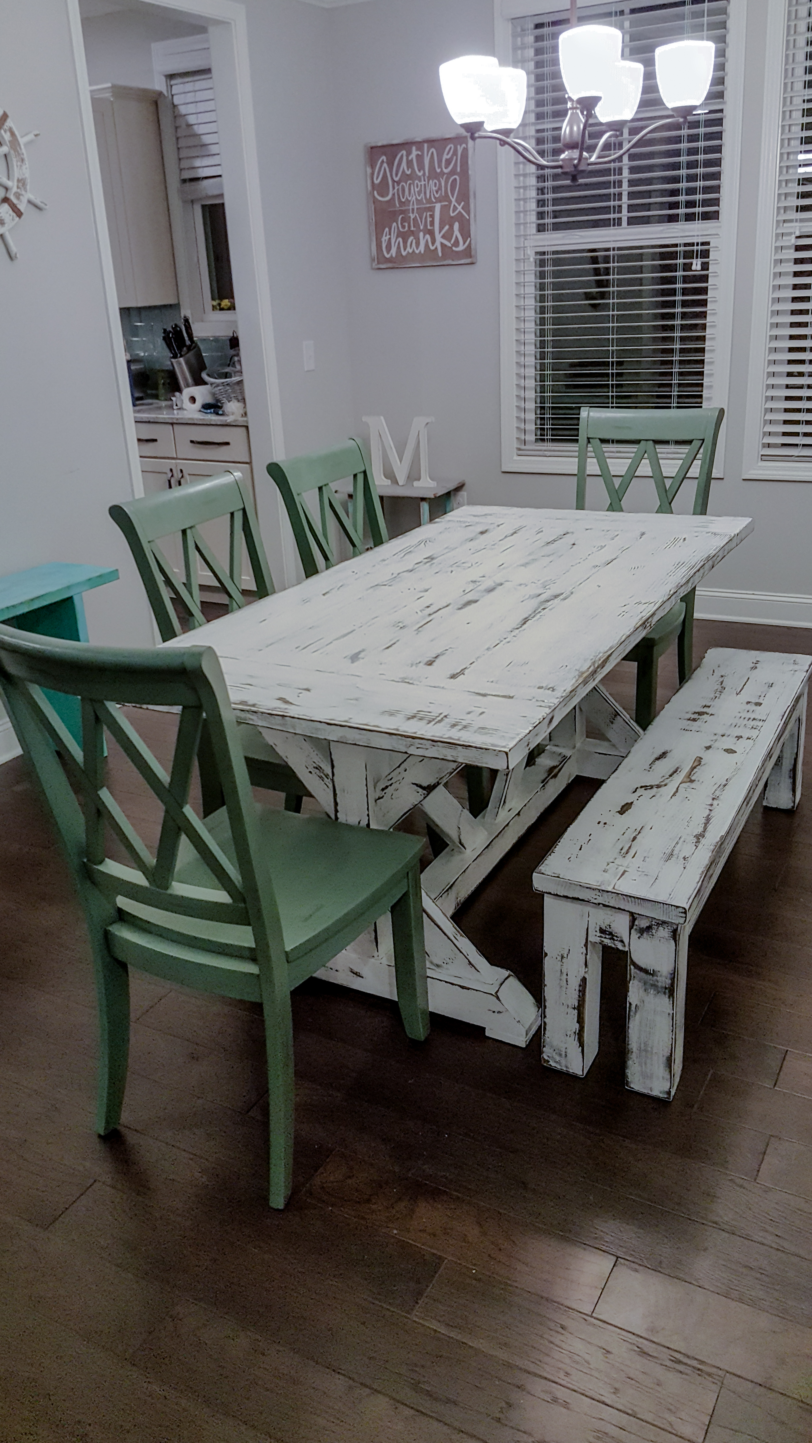 Poplar with Distressed White Paint and Low Gloss Finish