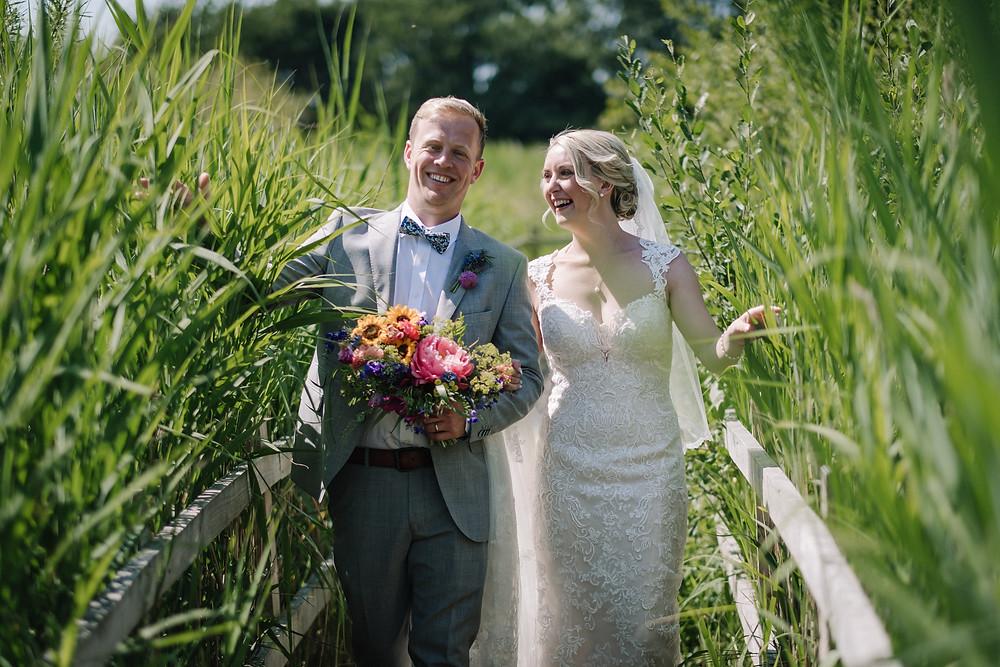 Mr & Mrs Smith, bride and groom on their wedding day at Brockholes Nature Reserve, Preston, Lancashire, United Kingdom
