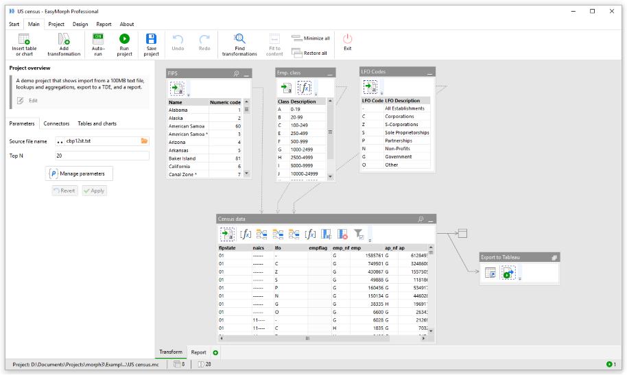 Data preparation tools for Tableau EasyMorph UI