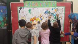 Children colouring Jujube's Art!