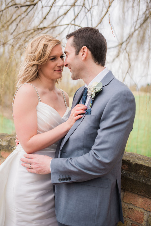 Natural wedding portrait of the bride and groom. East Midlands wedding photography. Countryside wedding venue.