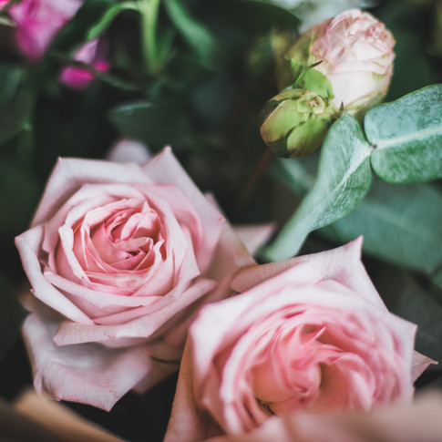 Recommended wedding photographer West Midlands. Wedding bouquet with beautiful pink roses.