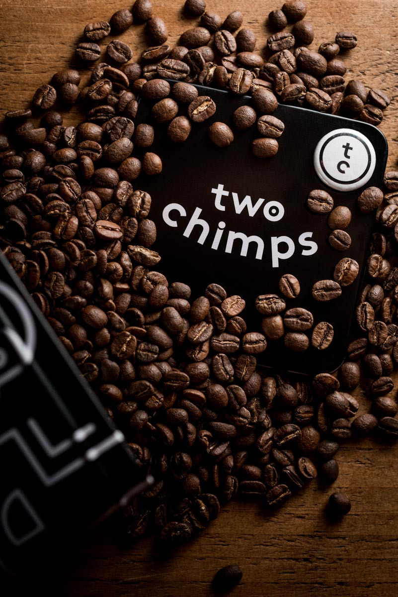 Product photography, Brand Photography Two Chimps Coffee, Oakham. Shot by Darley and Underwood Photography, Melton Mowbray, specialising in beautiful wedding photography UK.