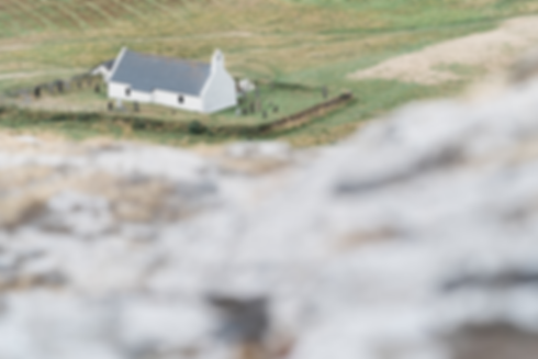 Wedding photography in Wales: Mwnt Church from above for countryside wedding by wedding photography duo, Darley and Underwood
