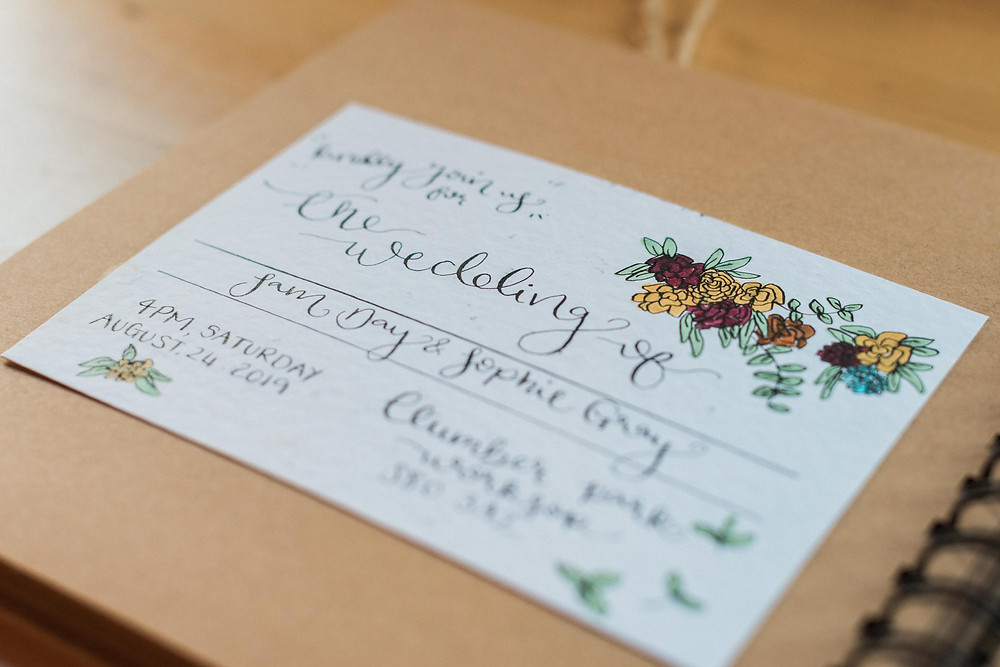 Wild Calligraphy GB wedding stationary. Handmade wedding invite for Leicestershire wedding. Wedding photographer Leicestershire.