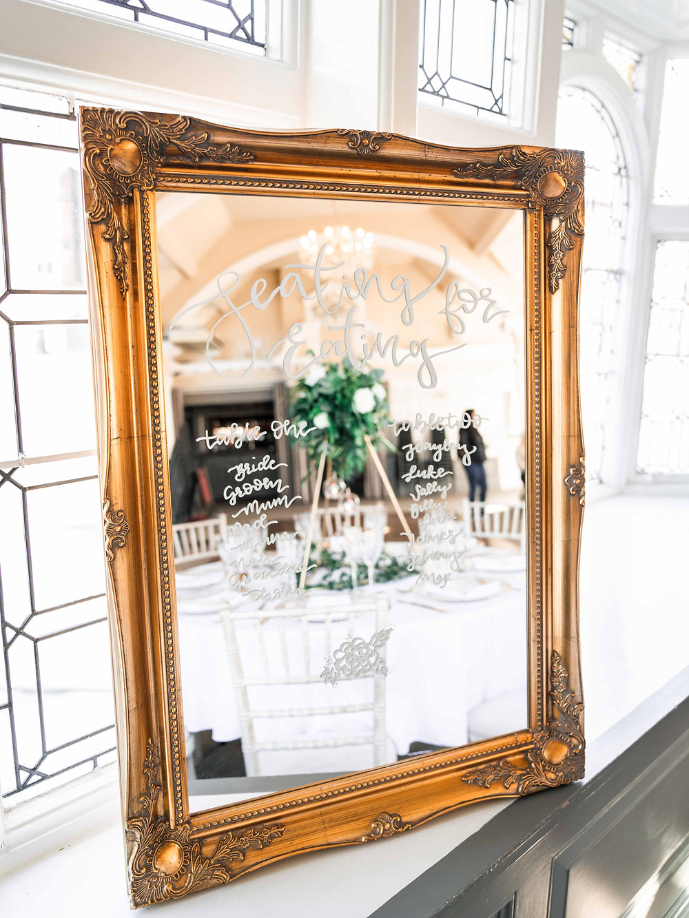 Leicestershire wedding photography in film and digitally. Leicester bespoke mirror wedding signage.