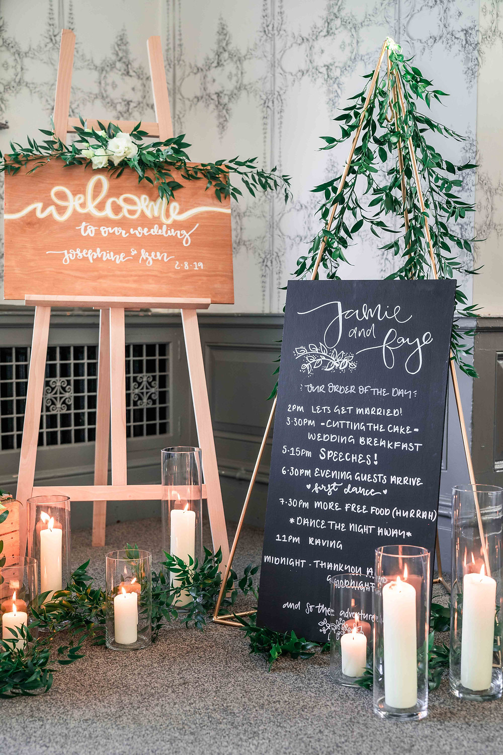 Personalised wedding signage and stationery for your bespoke wedding. Wooden wedding welcome sign.