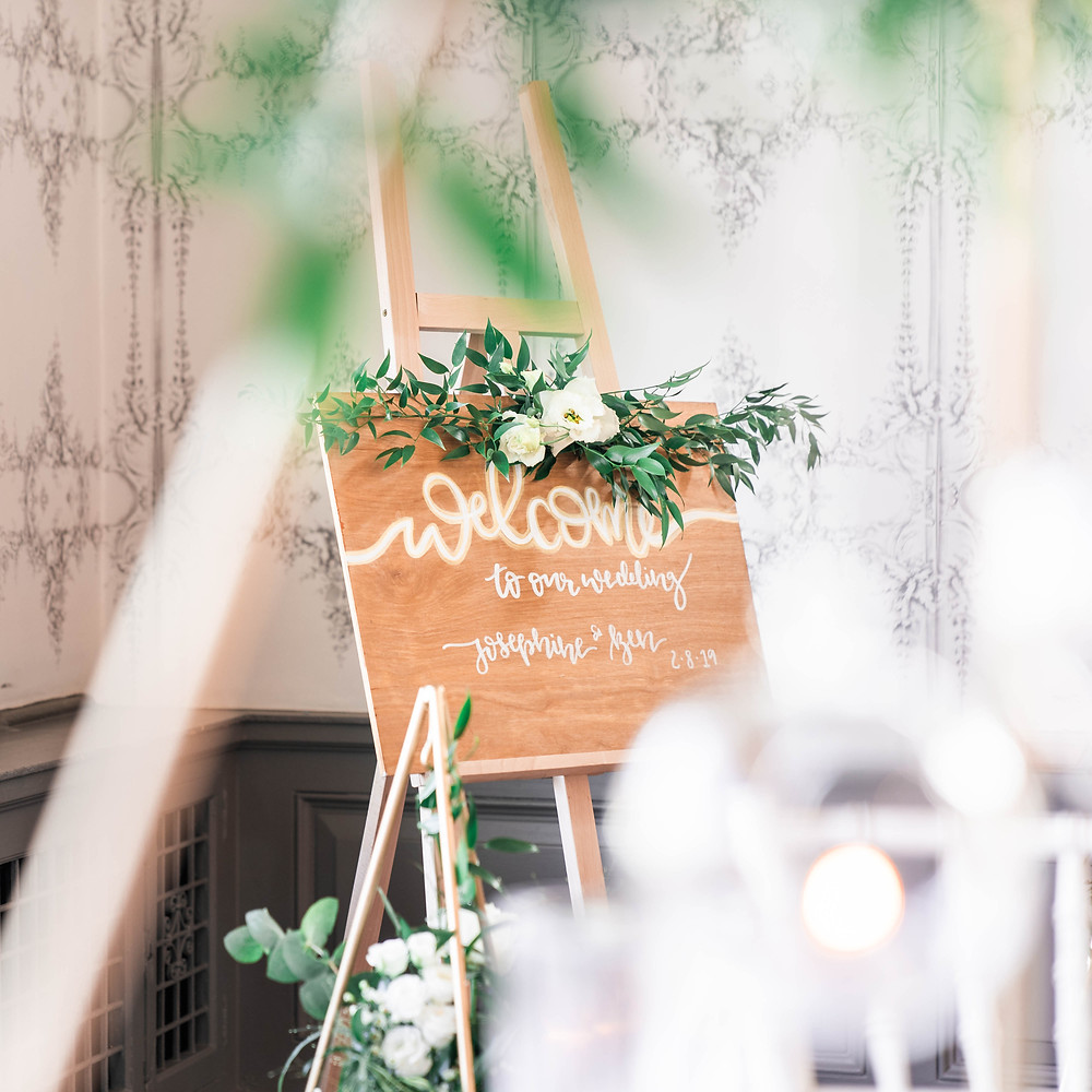 Wedding welcome signage for exclusive Leicester weddings. Sign by Wild Calligraphy.