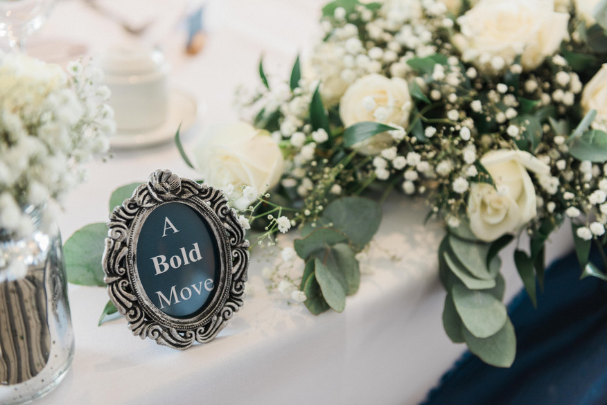 A Bold Move. Wedding table decorations in Nottinghamshire. Midlands wedding photographers.