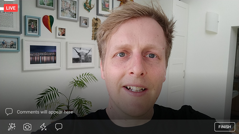 Phil goes live on Facebook for a virtual wedding fayre demonstration