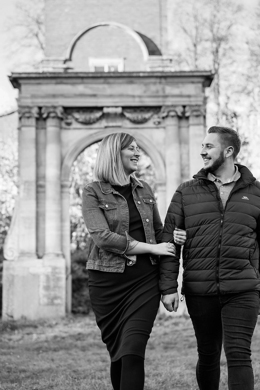 Bosworth Hall wedding photographer. Black and white engagement photography Midlands