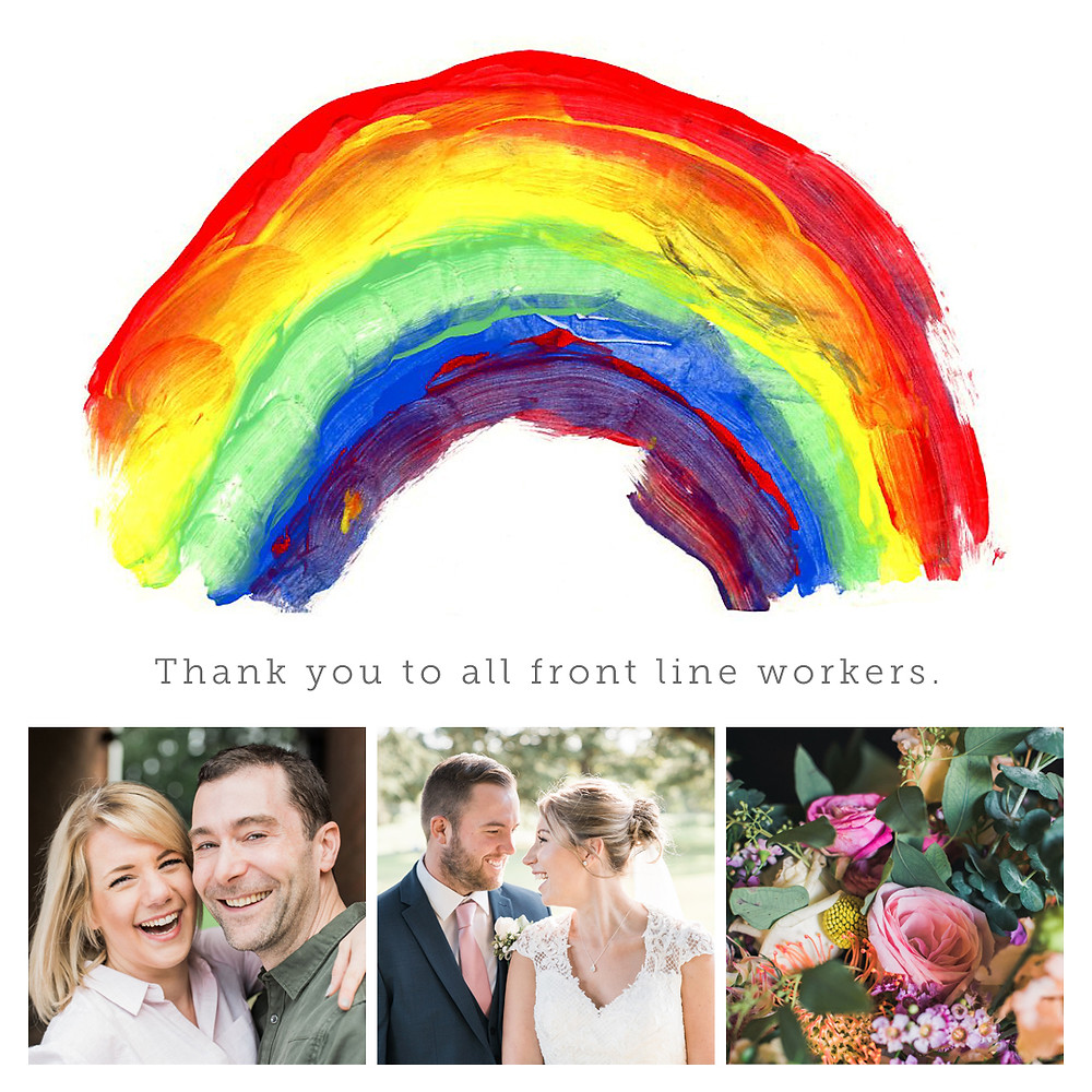 Rainbow in support of NHS front line workers. A thank you message including free wedding photography in Northamptonshire
