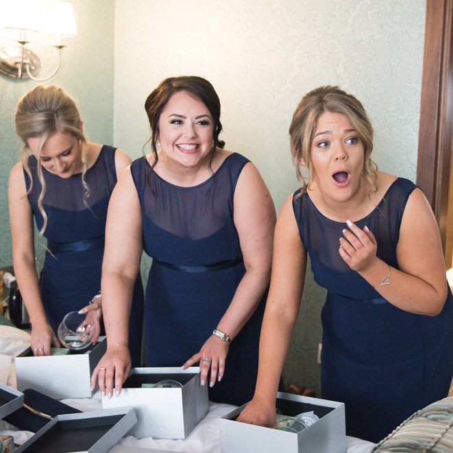 Bridesmaids preparing for the wedding in Nottinghamshire. Professional wedding photography