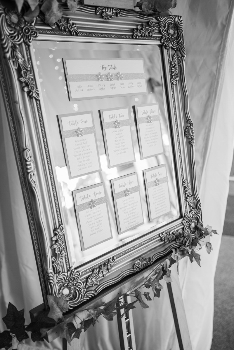 Black and white wedding table plan, leicestershire wedding photography.