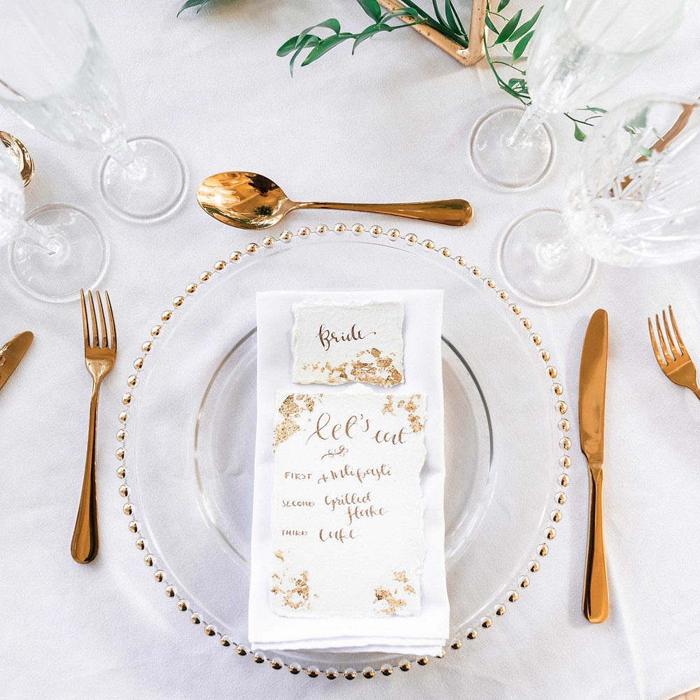 Gold wedding styling and table decorations. Wild Calligraphy with Darley and Underwood Photography.