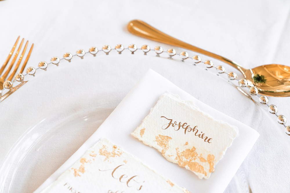 Leicester documentary wedding photography capturing the wedding breakfast styling details. Golden wedding colours.